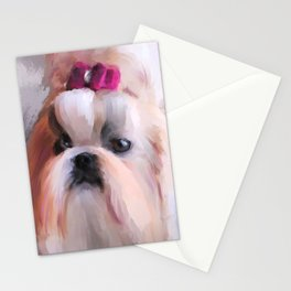 Little Girl Shih Tzu Stationery Cards