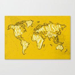 Worldmap vintage yellow Canvas Print