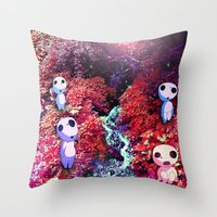 kodama Throw Pillows featuring Kodama by the Stream by pkarnold + The Cult Print Shop