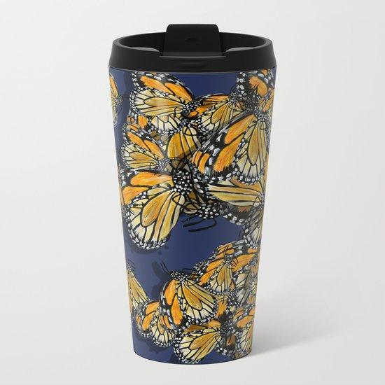 Butterfly Frenzy Spring Navy Metal Travel Mug