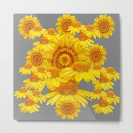 SUMMER YELLOW SUNFLOWERS GREY ART Metal Print