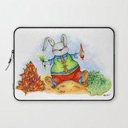 Funny rabbit with a carrot. Watercolor illustration Laptop Sleeve