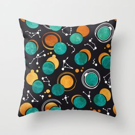 Great Total Solar Eclipse II // turquoise green moons Throw Pillow