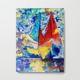 Red boat leads Metal Print