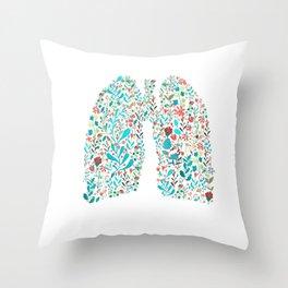 breathing in white Throw Pillow