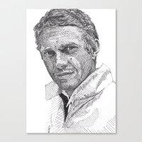 steve mcqueen Canvas Prints featuring Steve by Rik Reimert