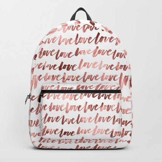 Rose Gold Love Pattern Backpack