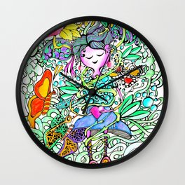 Dreamy Girl - Handmade Ink and Water Colour Illustration Wall Clock