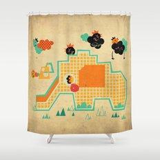 Elephant Playground Shower Curtain