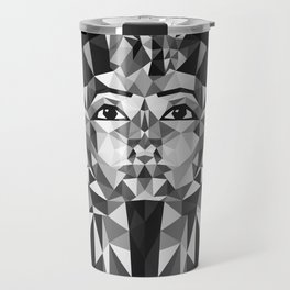 Black and White Tutankhamun - Pharaoh's Mask Travel Mug