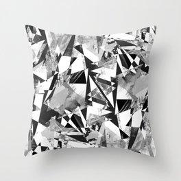 Monochrome sprayed textured triangles Throw Pillow