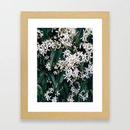 Green and White Framed Art Print