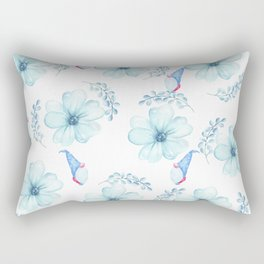 Renaissance Magic Gnome Blue Flowers Rectangular Pillow