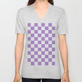 Checkered (Lavender & White Pattern) Unisex V-Neck