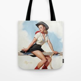 Pin Up Girl Cowgirl with Lasso Tote Bag