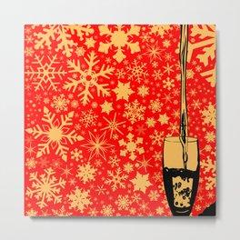 Pouring Christmas Wine Metal Print