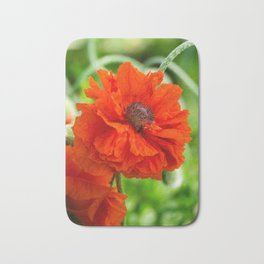 Flower wall art, flower print decor. Red poppy blooming on field. Wild red poppies flowers. Bath Mat