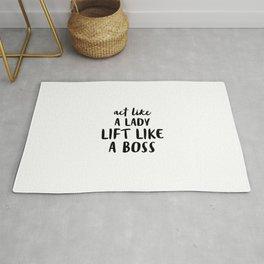 Act like a lady lift like a boss Rug