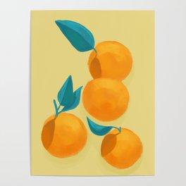 Oranges on yellow Poster