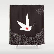 Love and Freedom - Black and Red Shower Curtain