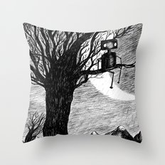 Lonely Robot Throw Pillow