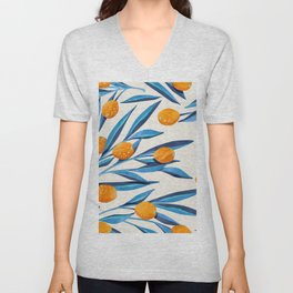 Floral Plant Pattern Blue Leaves Orange Fruits Unisex V-Neck