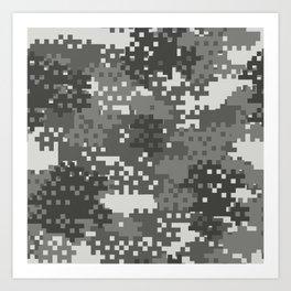 Pixel Urban Army Camo Pattern Art Print
