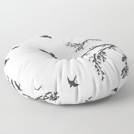 flock of flying birds on tree branch Floor Pillow