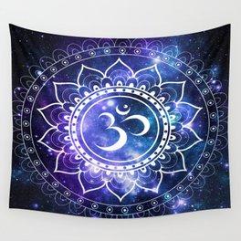 Om Mandala: Violet & Teal Galaxy Wall Tapestry