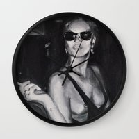 kate moss Wall Clocks featuring Kate Moss Painting  by Beth Zimmerman Illustration