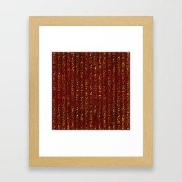 Golden Egyptian  hieroglyphics on red leather Framed Art Print
