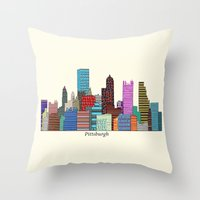 pittsburgh Throw Pillows featuring Pittsburgh by bri.buckley
