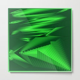 Diffuse landscap with stylised mountains, sea and green Sun. Metal Print