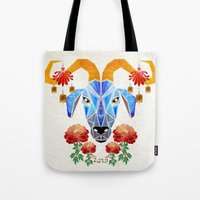 chinese Tote Bags featuring chinese goat by Manoou