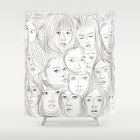 asian Shower Curtains featuring Asian Girls by Maria Umiewska