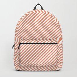 Mini Shell Coral Peach Orange and White Candy Cane Stripes Backpack
