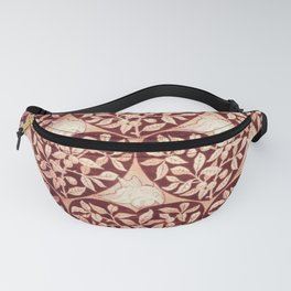 Garden of Hearts and Doves Textile Floral Print by Edward William Godwin Fanny Pack
