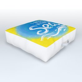 i need vitamin sea White text on blue abstract background, symbol of the sea ocean trendy print Outdoor Floor Cushion