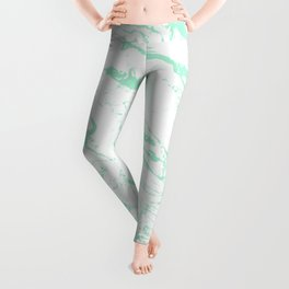 Trendy modern pastel mint green white marble pattern by Girly Trend Leggings