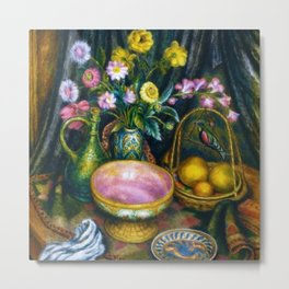 Still Life with Calla Lily, Zinnia, Flowers, Bird, Fruit, & Candy Bowl by Edward Middleton Manigault Metal Print