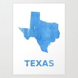 Texas map outline Blue Jeans watercolor Art Print