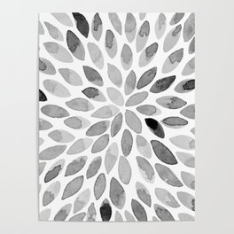 Watercolor brush strokes - black and white Poster