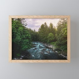 PNW River Run II - Pacific Northwest Nature Photography Framed Mini Art Print