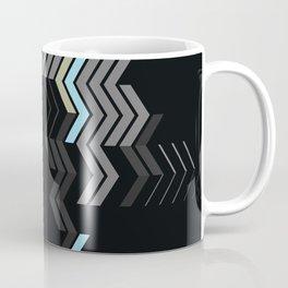Deconstructed Chevron C – Gray / Gold / Blue Abstract Pattern Coffee Mug