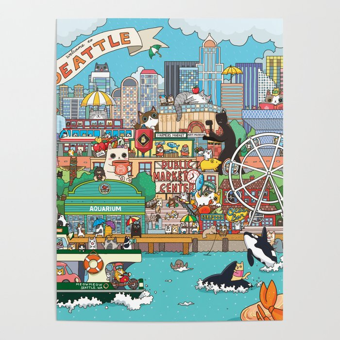 Seattle cats Poster
