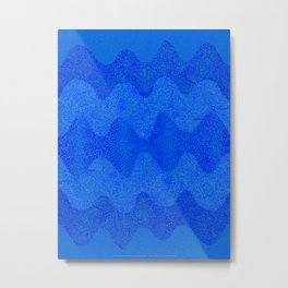 Under the Influence (Marimekko Curves) Feeling Blue Metal Print