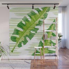 Tropical Leaves Watercolor Painting Wall Mural