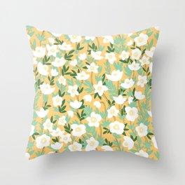Lemonade Wildflowers in Orange Pattern Throw Pillow