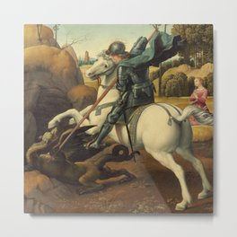 Saint George and the Dragon Oil Painting By Raphael Metal Print
