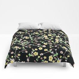 Spring Blossom black Background Comforters